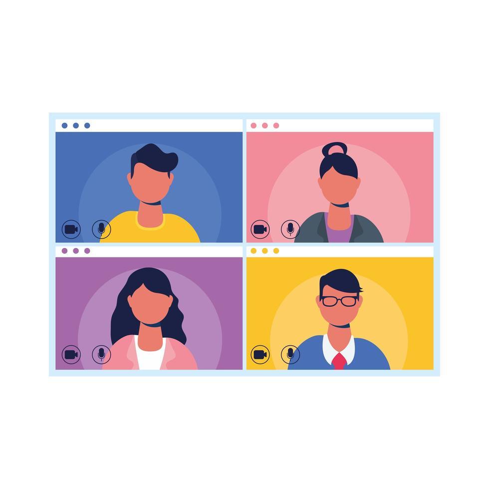 människor avatarer på skärmen i videochatt vektor design