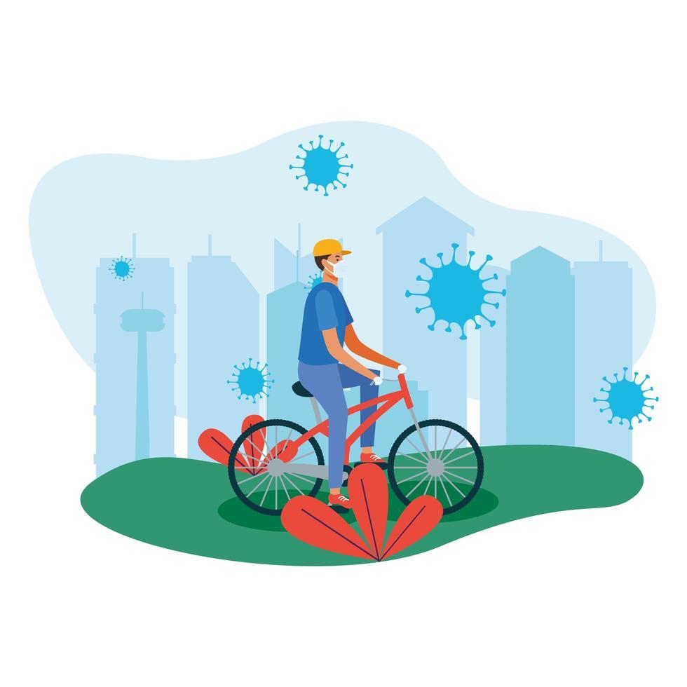 Mann mit Maske auf Fahrrad am Stadtvektorentwurf vektor
