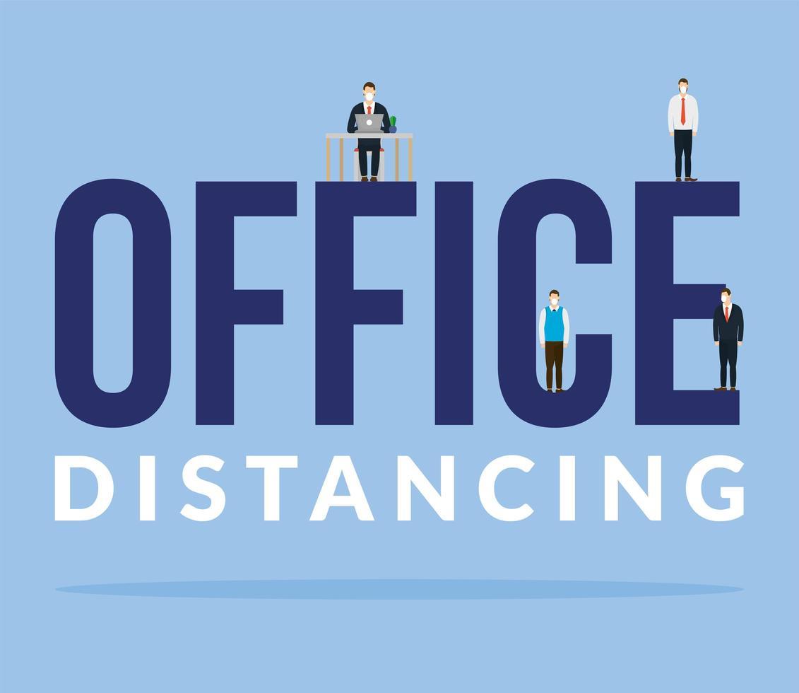 kontor distanserar mellan män med masker och skrivbordsvektordesign vektor