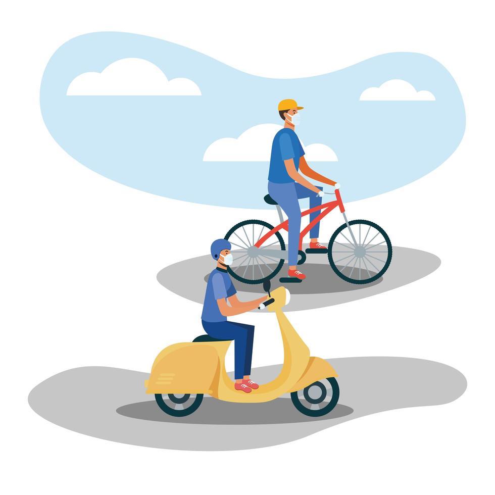män med masker på cykel och motorcykel vektor design