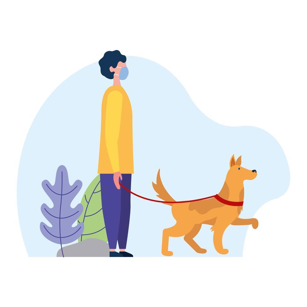 man med medicinsk mask och hund på parkvektordesign vektor