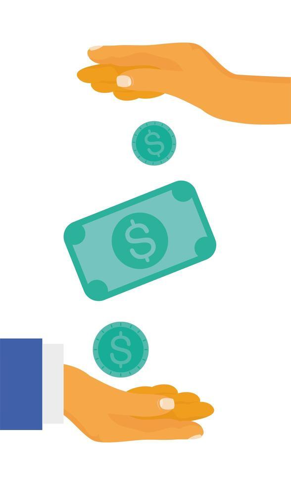 Hände mit Münzen und Geldscheinvektorentwurf vektor