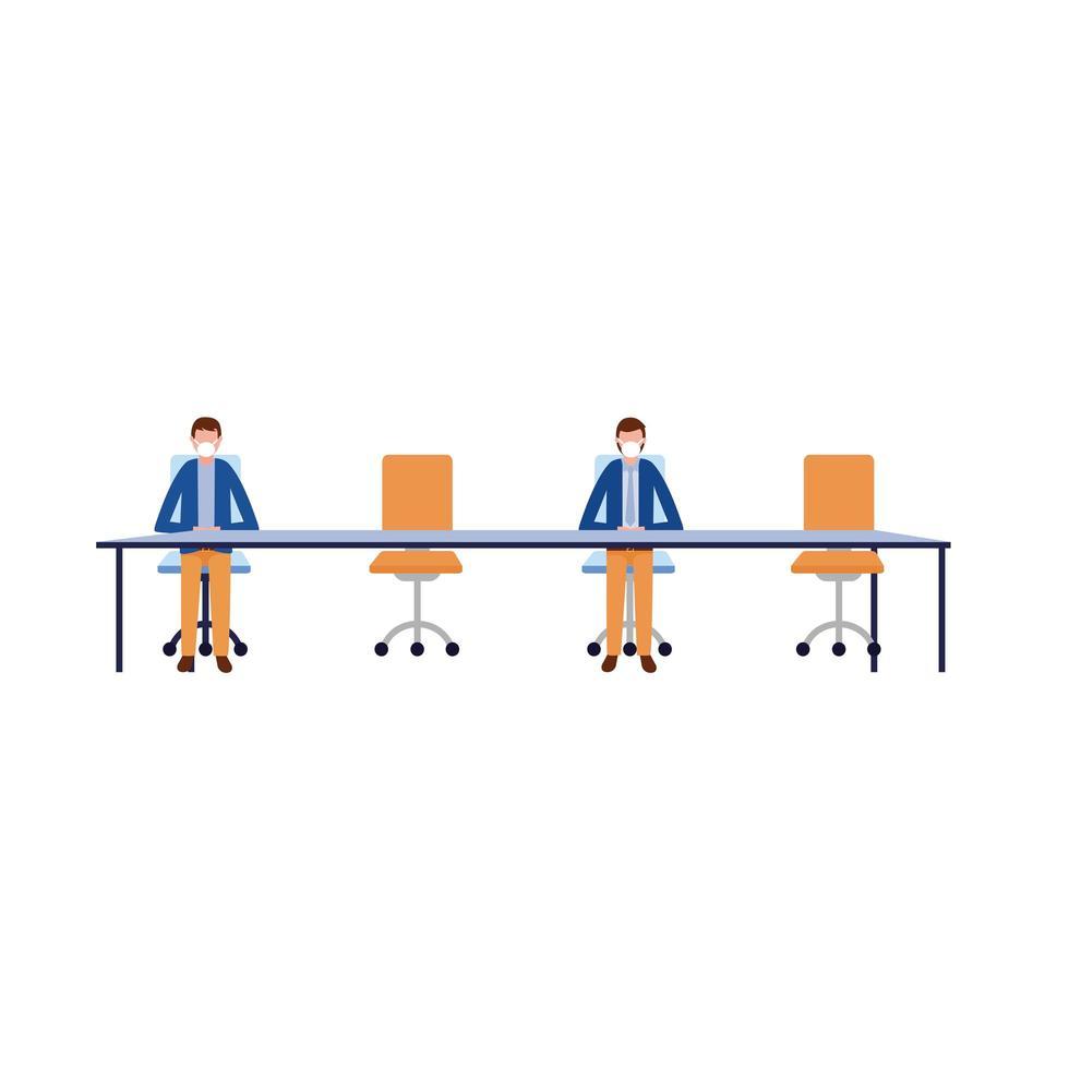 Männer mit Masken auf Tischvektorentwurf vektor