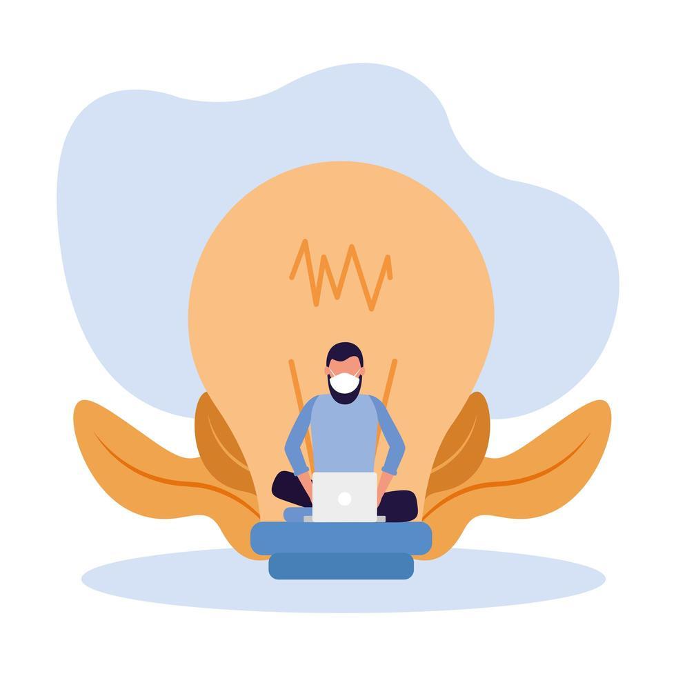 kvinna med maskbärbar dator och glödlampavektordesign vektor