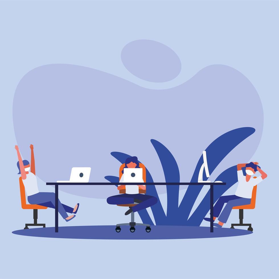 kontor distanserar mellan människor med masker på bordsvektordesign vektor