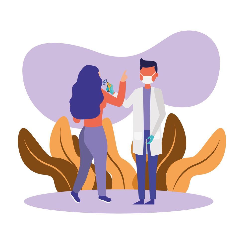 manlig läkare som håller termometerpistol som kontrollerar kvinnotemperaturvektordesign vektor
