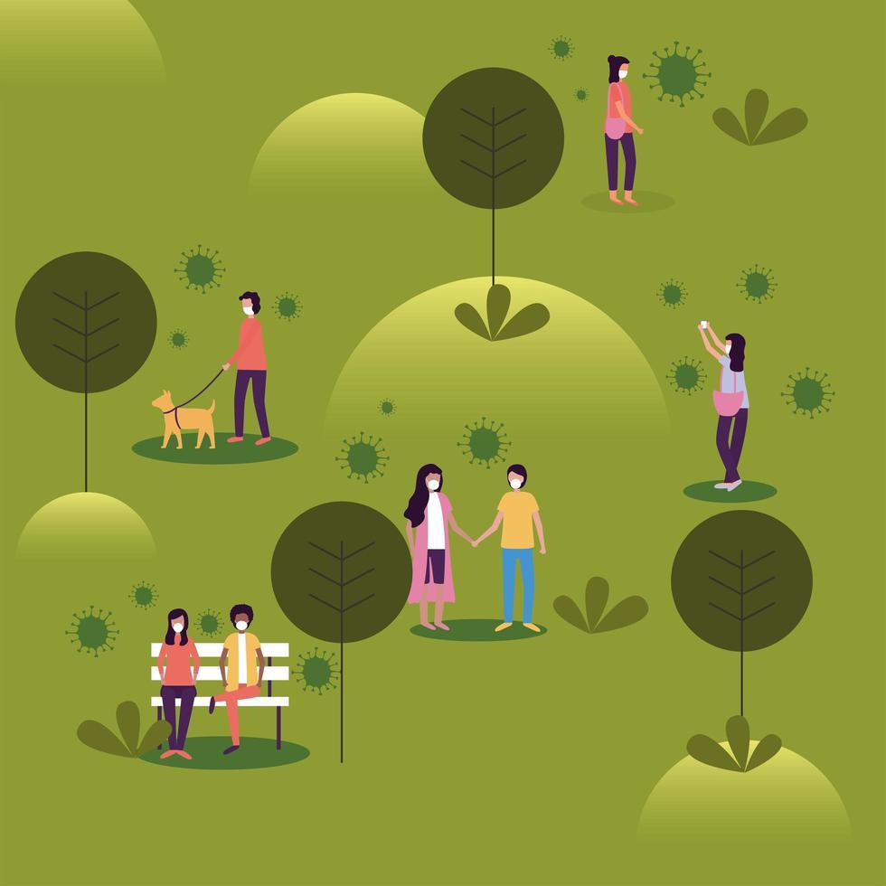 kvinnor och män med masker på parkvektordesign vektor