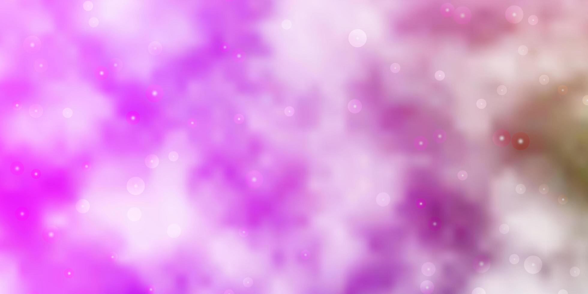 hellrosa, grüner Vektorhintergrund mit kleinen und großen Sternen. vektor