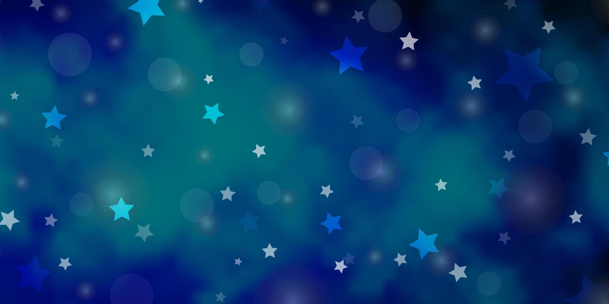 hellblauer Vektorhintergrund mit Kreisen, Sternen. vektor