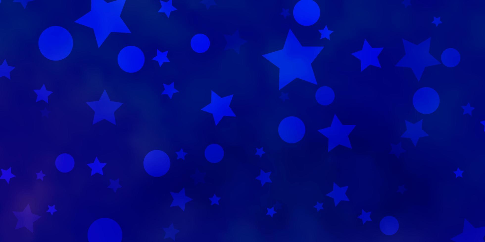 hellblaue Vektorschablone mit Kreisen, Sternen. vektor