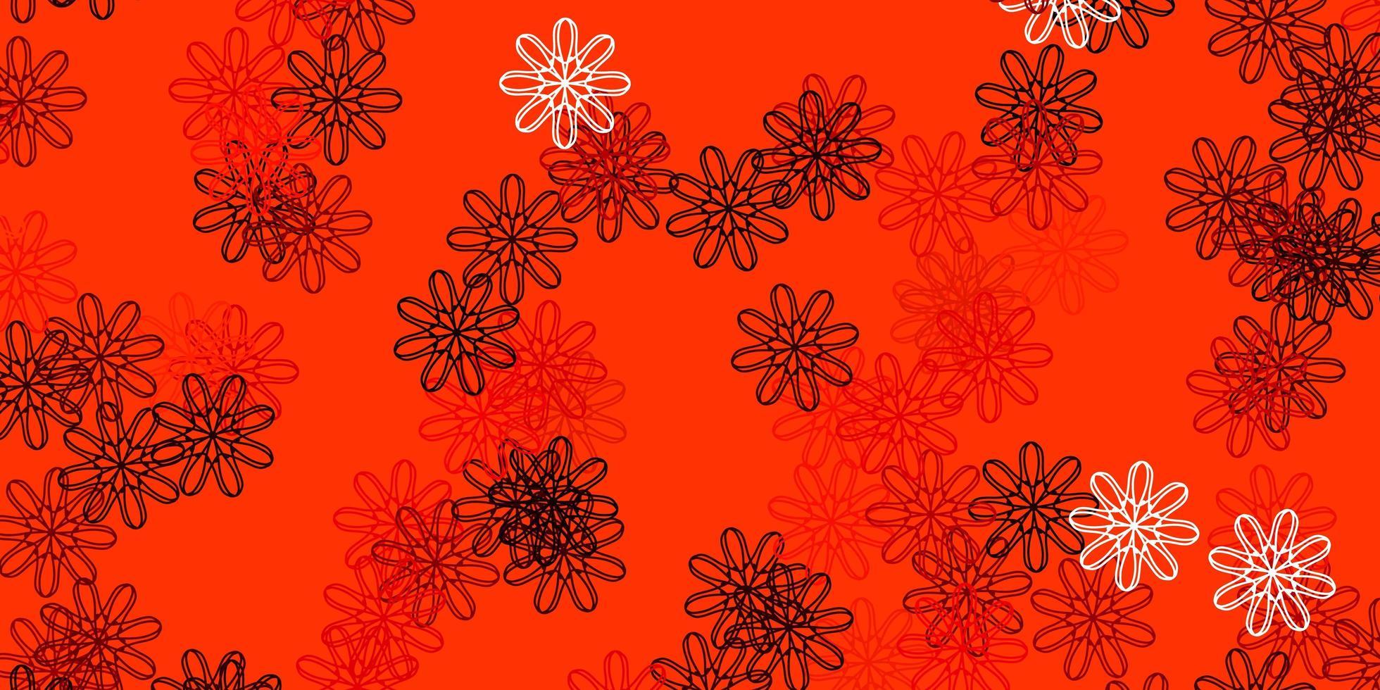 ljus orange vektor naturlig layout med blommor.