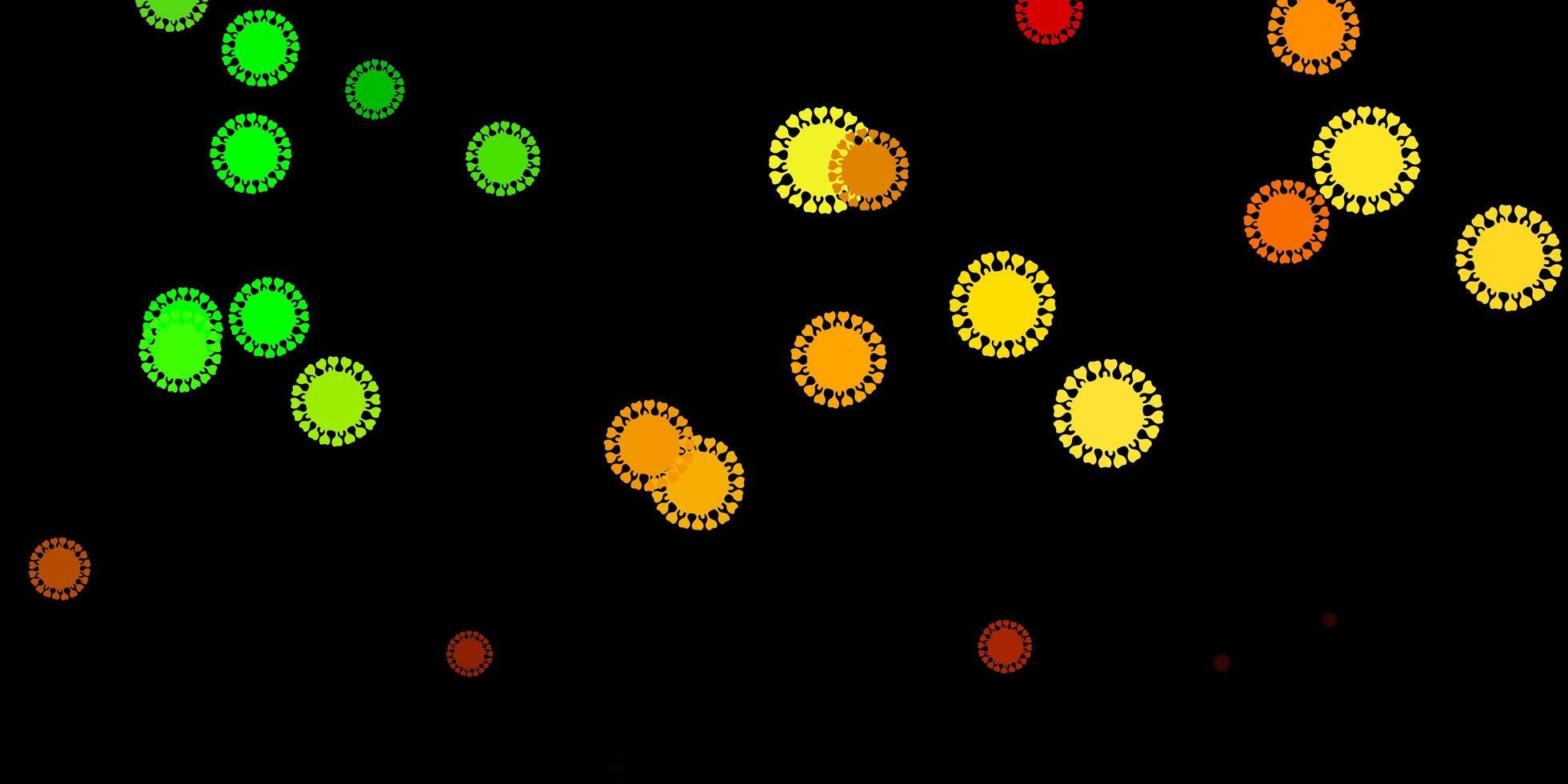 dunkelgrüne, gelbe Vektorschablone mit Grippezeichen. vektor