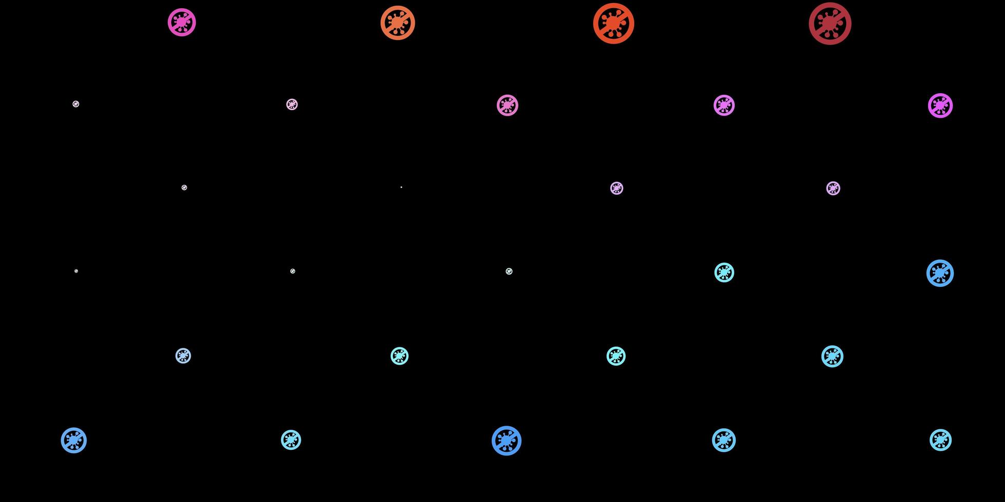 dunkler mehrfarbiger Vektorhintergrund mit covid-19 Symbolen. vektor