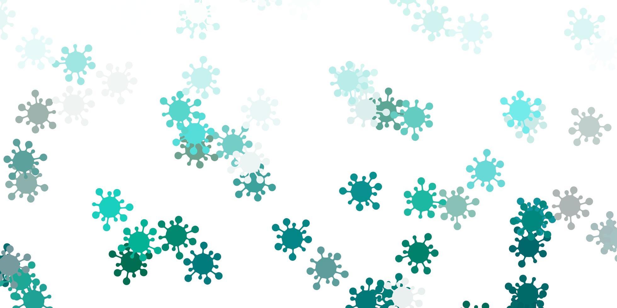 hellblauer, grüner Vektorhintergrund mit Virensymbolen. vektor