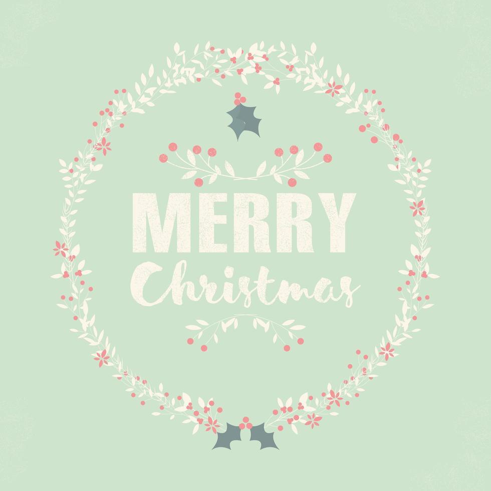 vykort med god jul med bokstäver och blommiga kransar vektor