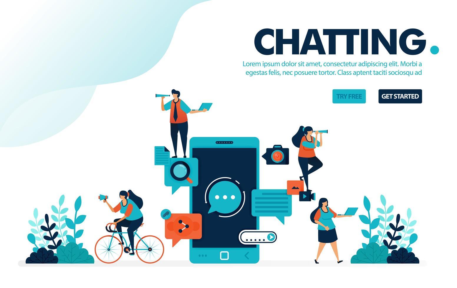 vektor illustration chatt appar. människor chattar med mobilapplikation. chattappar för kommunikation, skicka och ta emot meddelanden. designad för målsida, webb, banner, mall, flygblad, affisch, ui