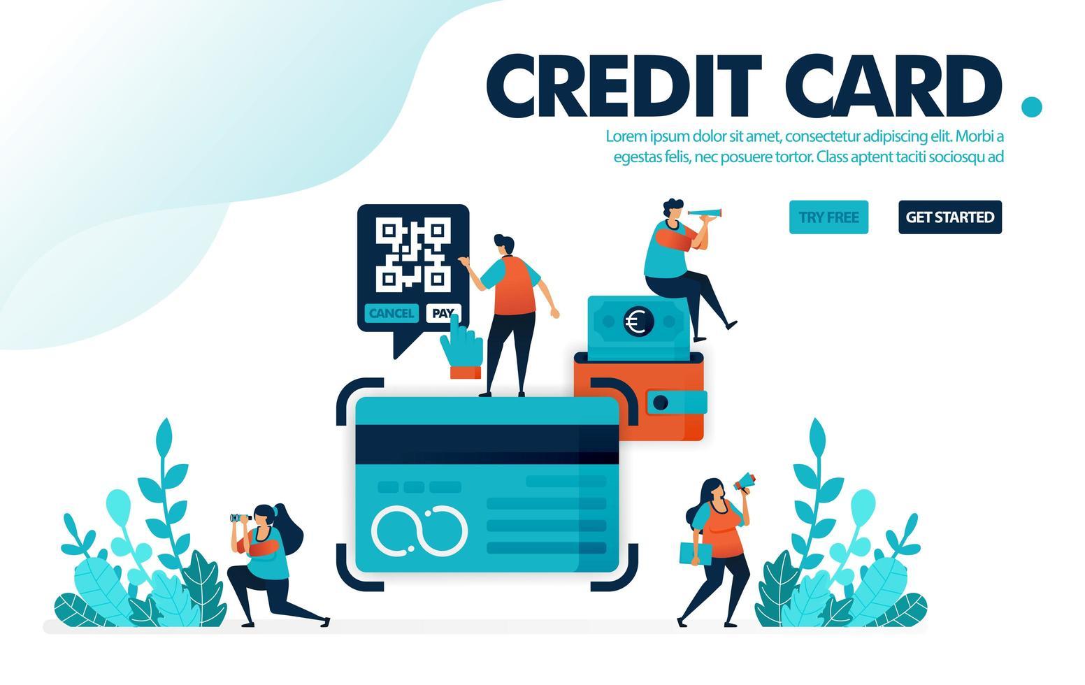 vektor illustration begreppet kreditkort. människor ansöker om kreditkortslån i banken. betala räkning och avbetalning med kreditkort. designad för målsida, webb, banner, mall, bakgrund, flygblad