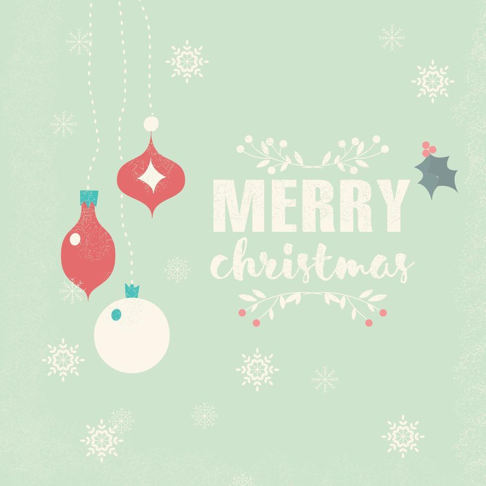 god jul vykort med bollar dekoration, snöflingor och blommor vektor