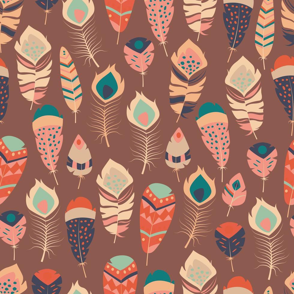 sömlösa mönster med boho vintage tribal etniska färgglada livliga fjädrar vektor