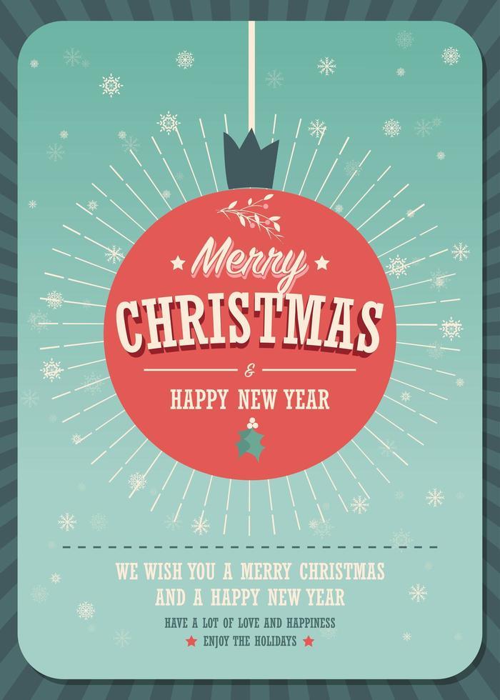 god julkort på en dekorativ julboll på vinterbakgrund vektor