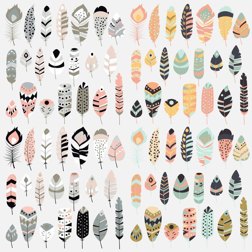 samling av boho vintage tribal etniska handritade färgglada fjädrar vektor
