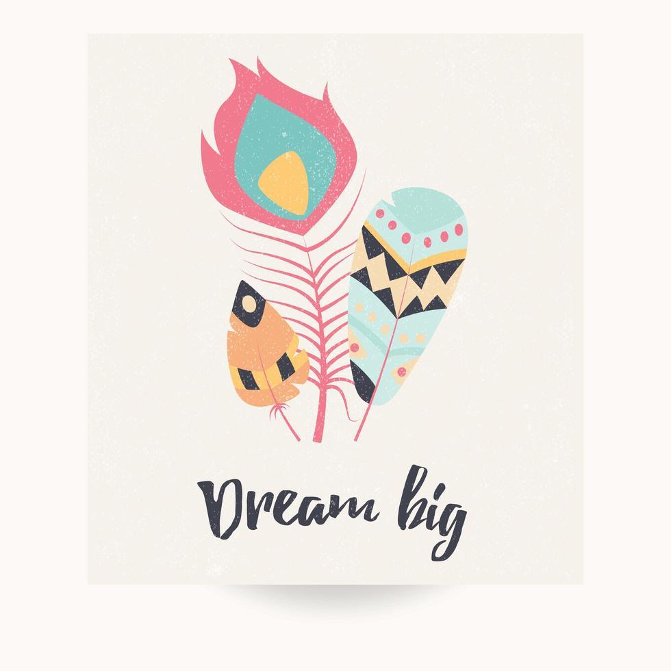 vykortdesign med inspirerande citat och bohemiska färgglada fjädrar vektor
