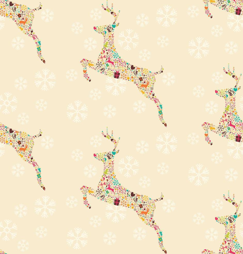 sömlösa mönster med dekorativa julrenar med snöflingor vektor