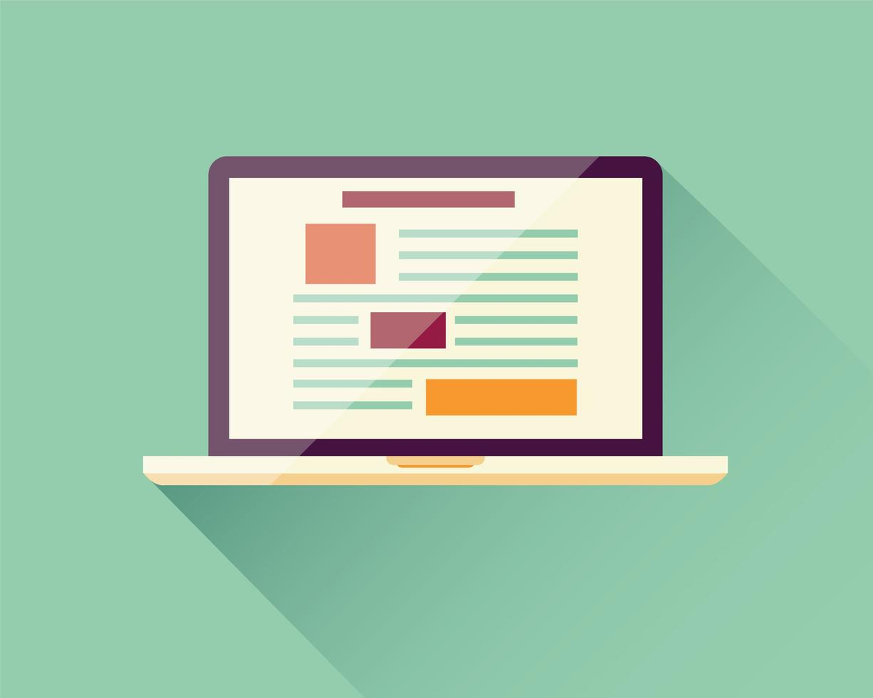 platt ikon laptop, elektronisk enhet, lyhörd webbdesign, infografiska element vektor