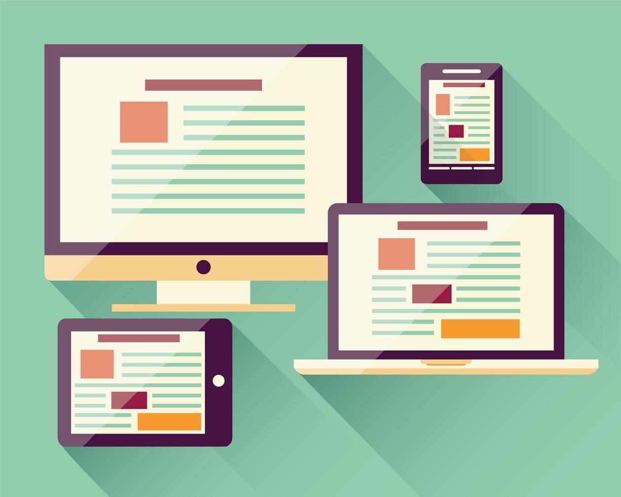 Sammlung von flachen Symbolen mobiles Smartphone, Laptop, Computer, Tablet, elektronische Geräte vektor