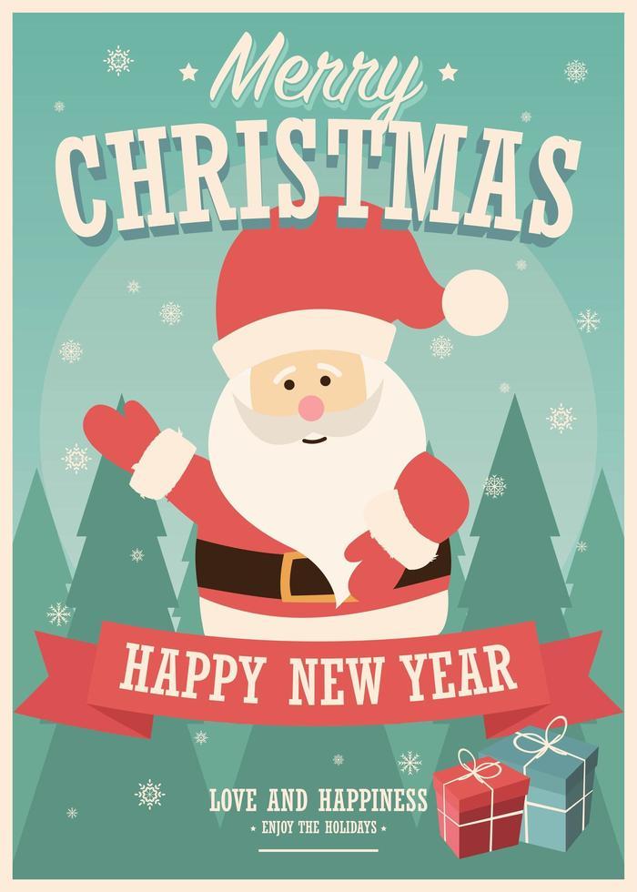 god julkort med jultomten och presentaskar på vinterbakgrund vektor