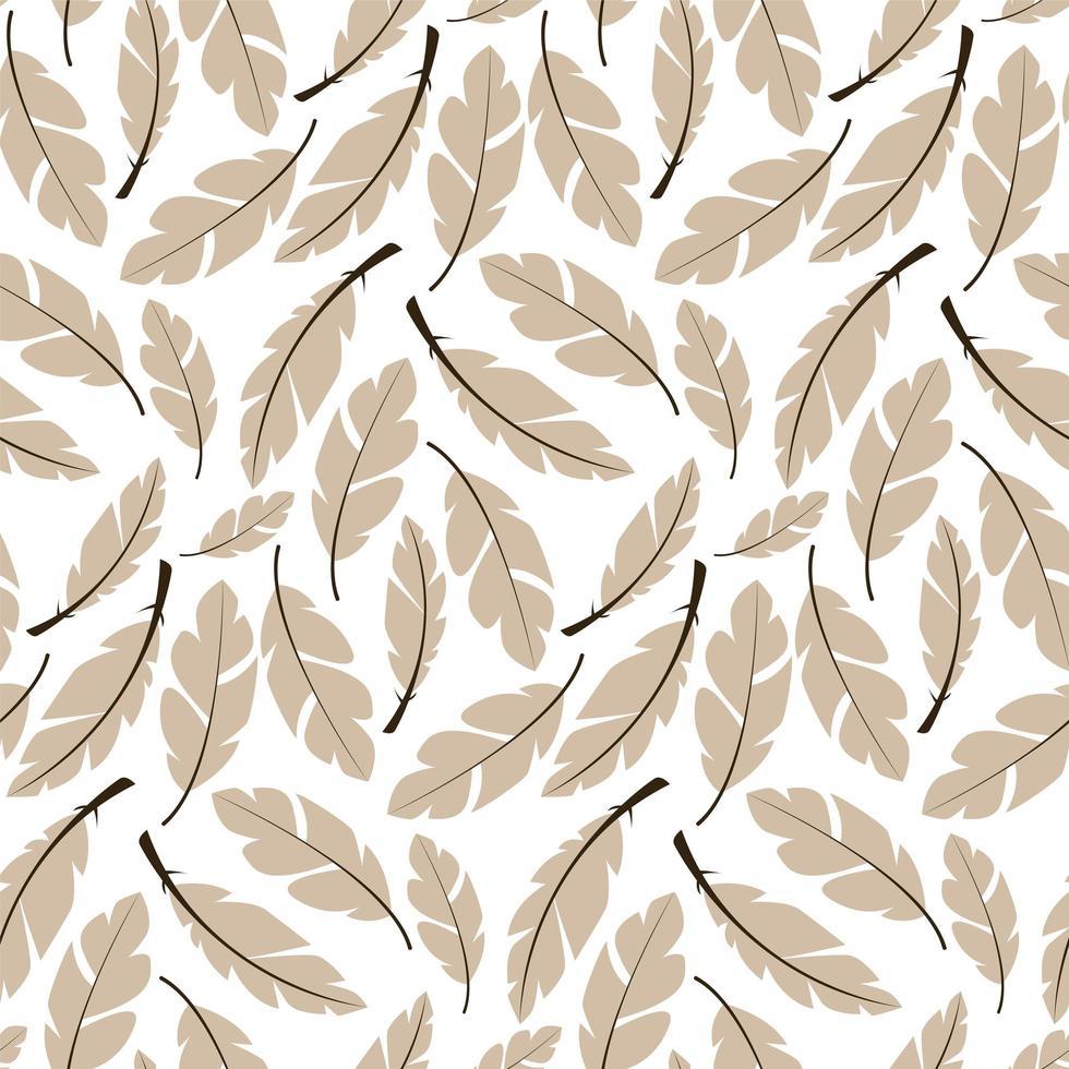 sömlös mönster design med bohemiska handritade fjädrar vektor