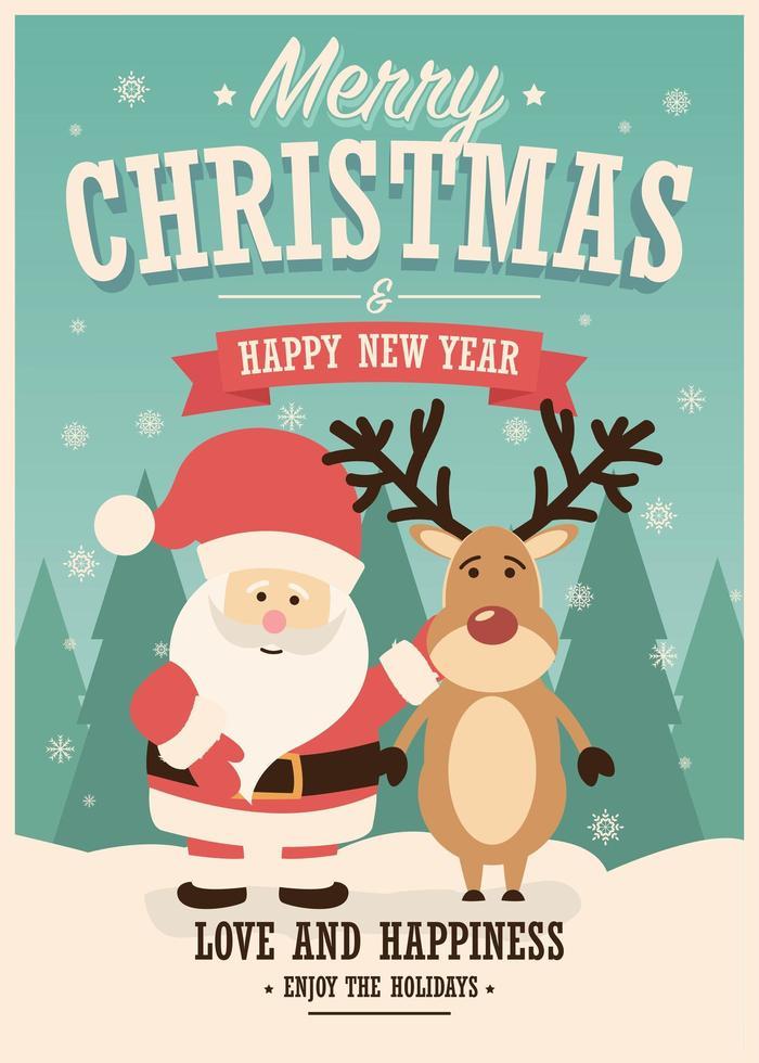Frohe Weihnachtskarte mit Weihnachtsmann und Rentier auf Winterhintergrund vektor