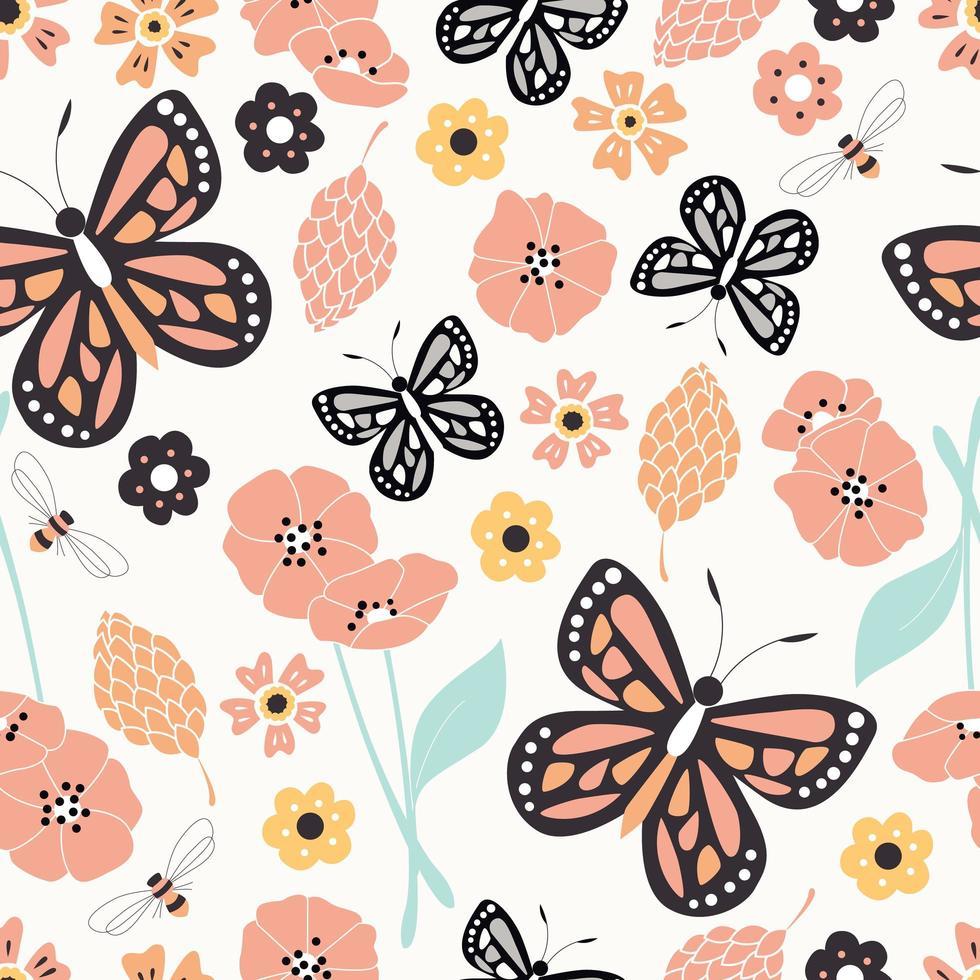 nahtloses Muster mit Blumen, floralen Elementen und Schmetterlingen, Naturleben vektor