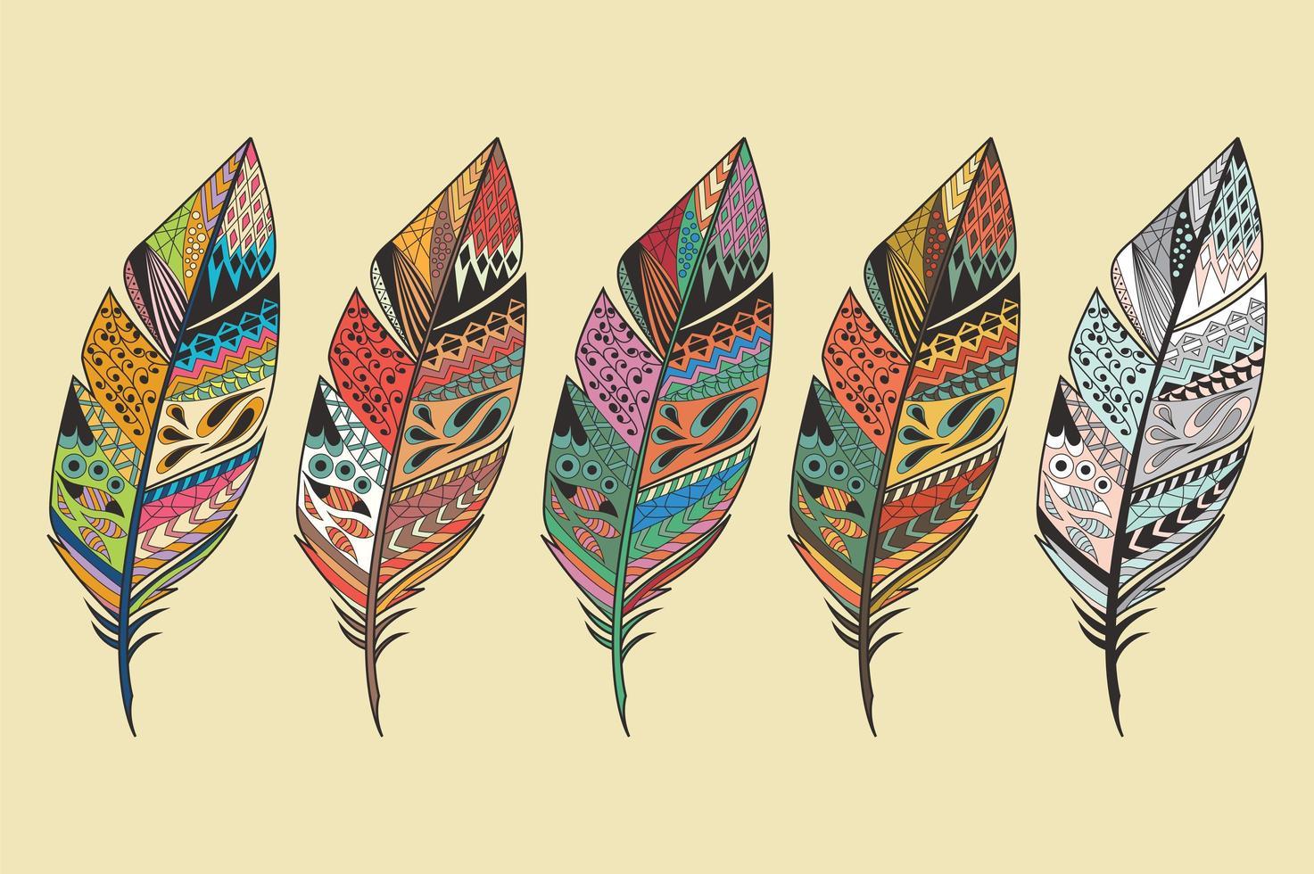 samling av vintage stam etniska hand dras färgglada fjädrar vektor
