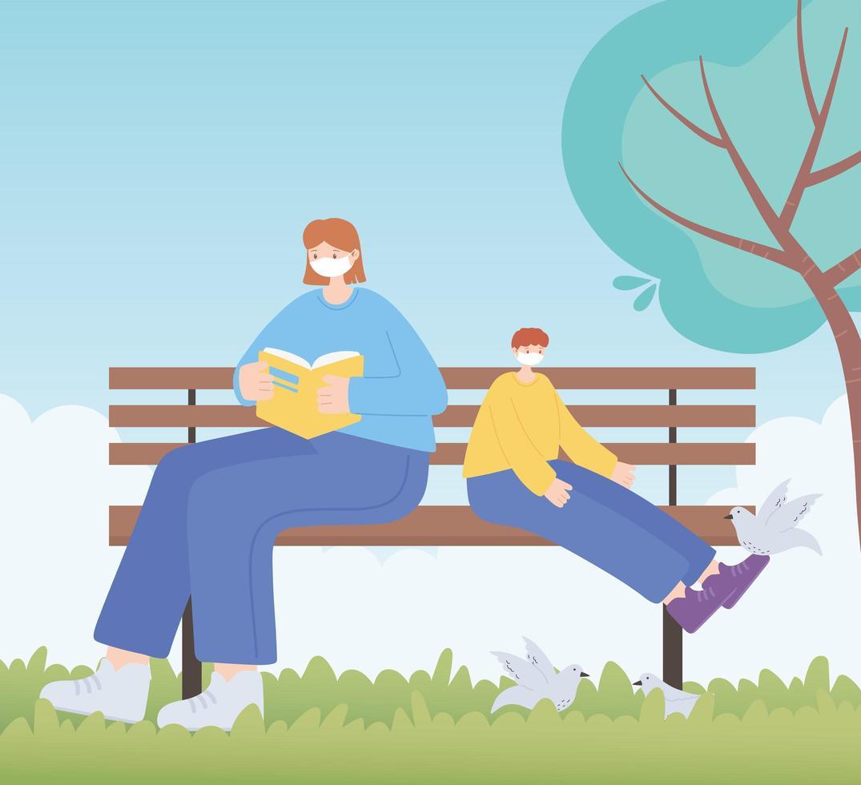 personer med medicinsk ansiktsmask, kvinna och pojke på bänk, stadsaktivitet under koronavirus vektor