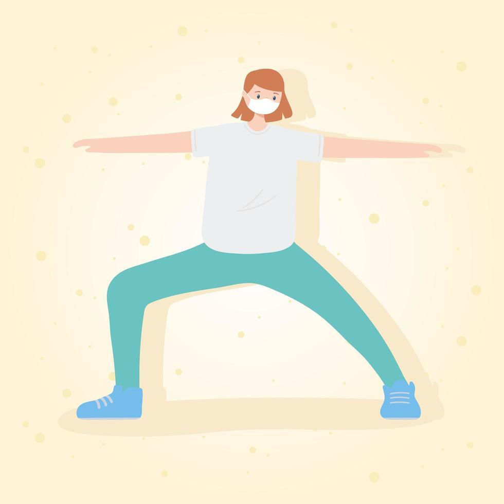 människor med medicinsk ansiktsmask, ung kvinna som tränar i stretching, stadsaktivitet under koronavirus vektor