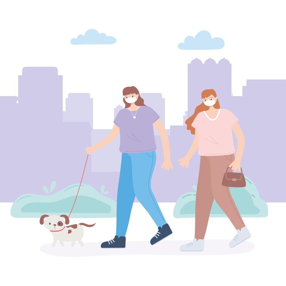 personer med medicinsk ansiktsmask, flicka med väska och kvinna med hund, stadsaktivitet under koronavirus vektor
