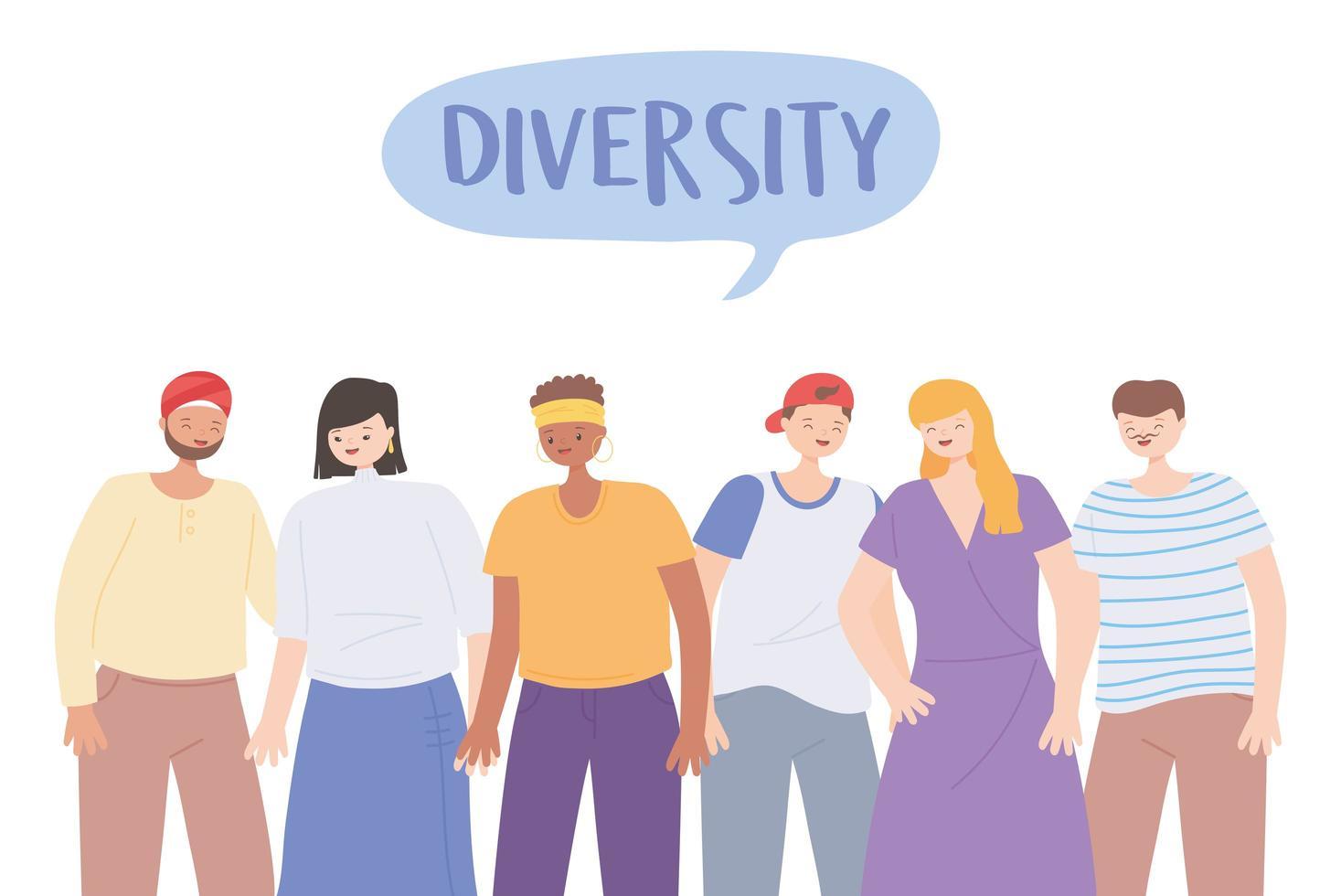 verschiedene multikulturelle und multikulturelle Menschen Charaktere verschiedene Cartoon vektor