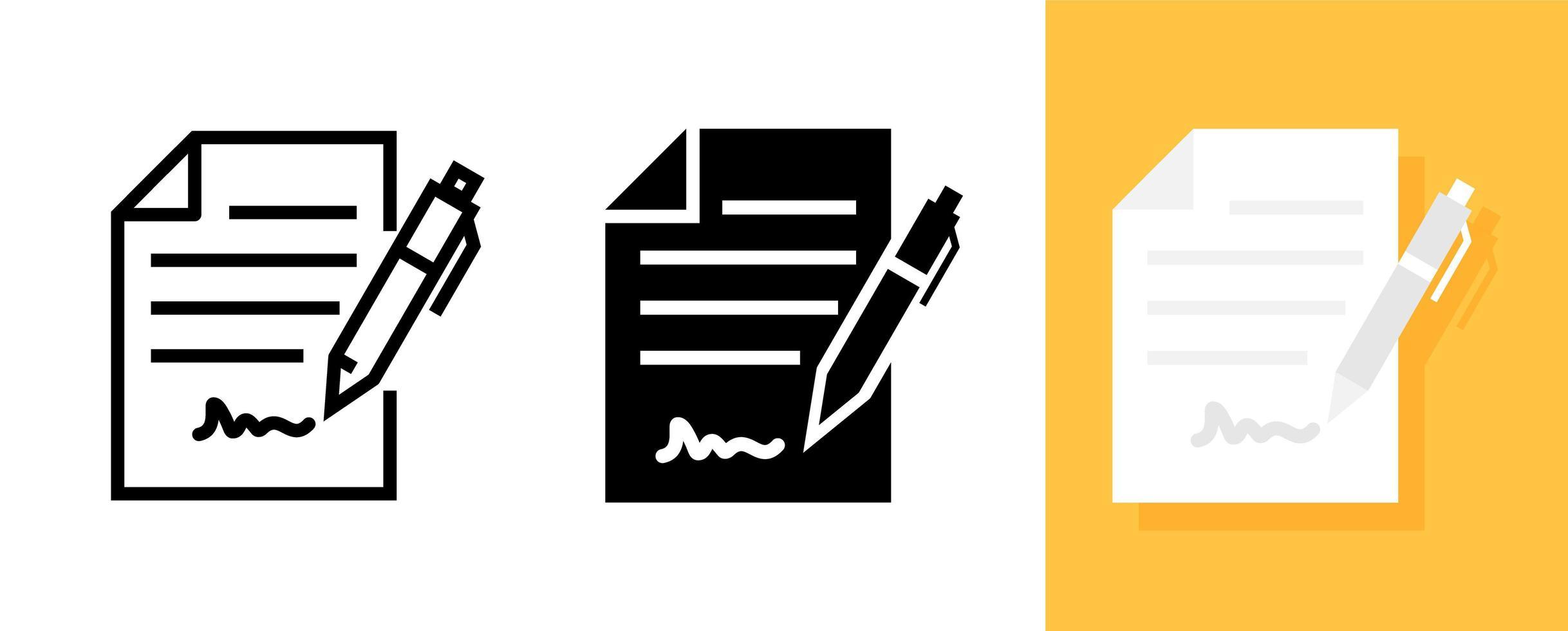 underteckna ett kontrakt, dokument platt ikonuppsättning vektor