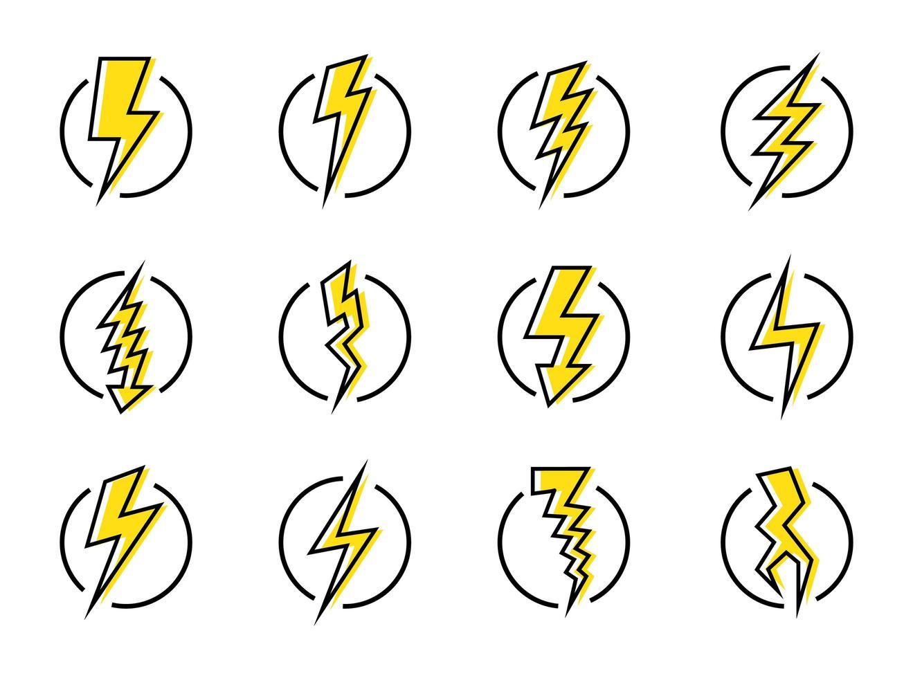 blixt och energi ikonuppsättning vektor