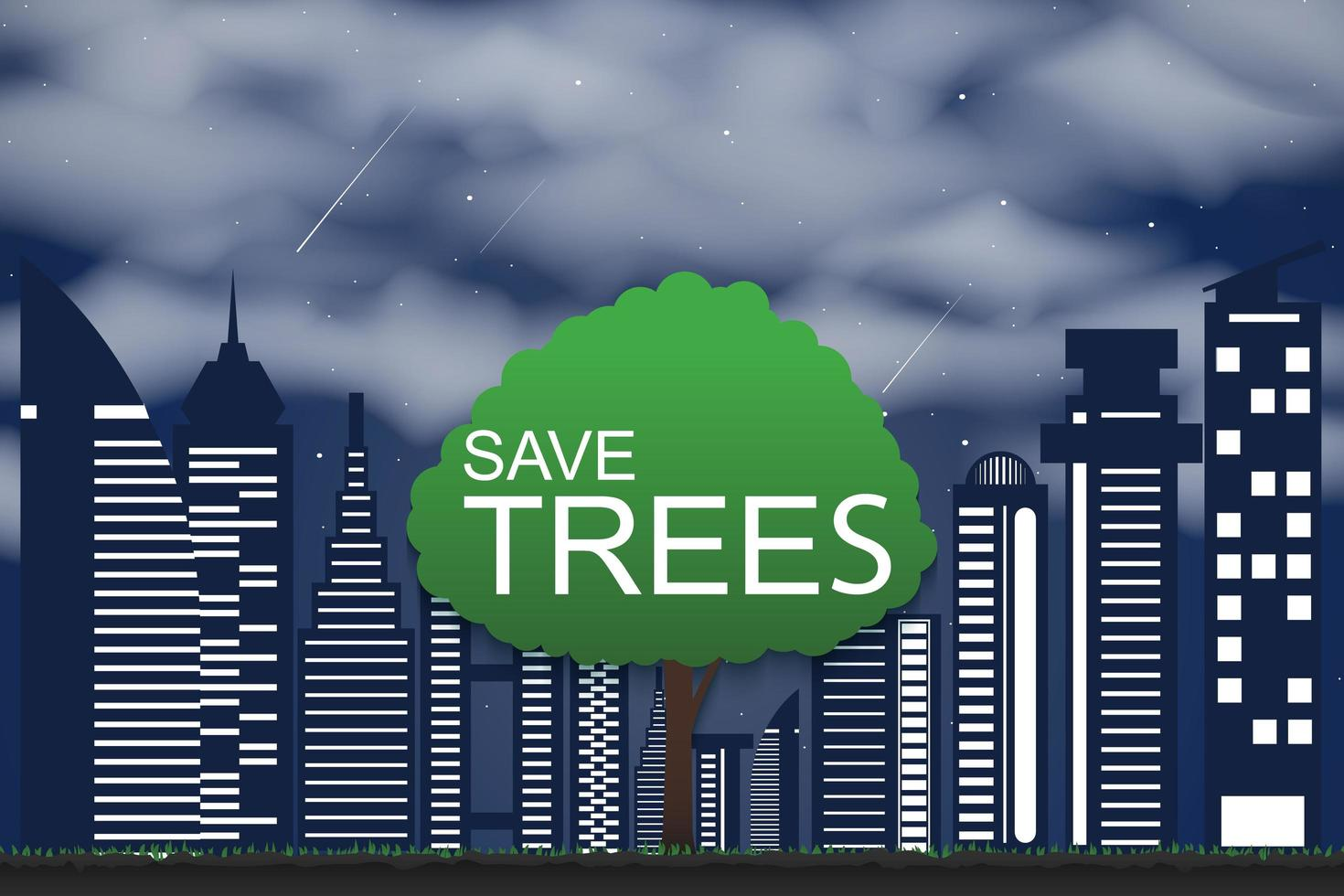 begrepp för trädbevarande och plantering av träd för miljön vektor