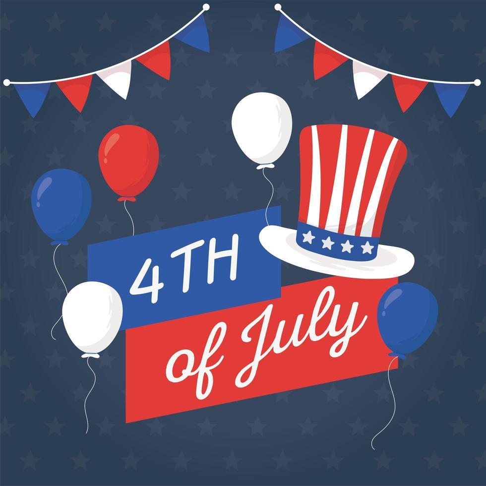 självständighetsdagen ballonger och hatt vektor design