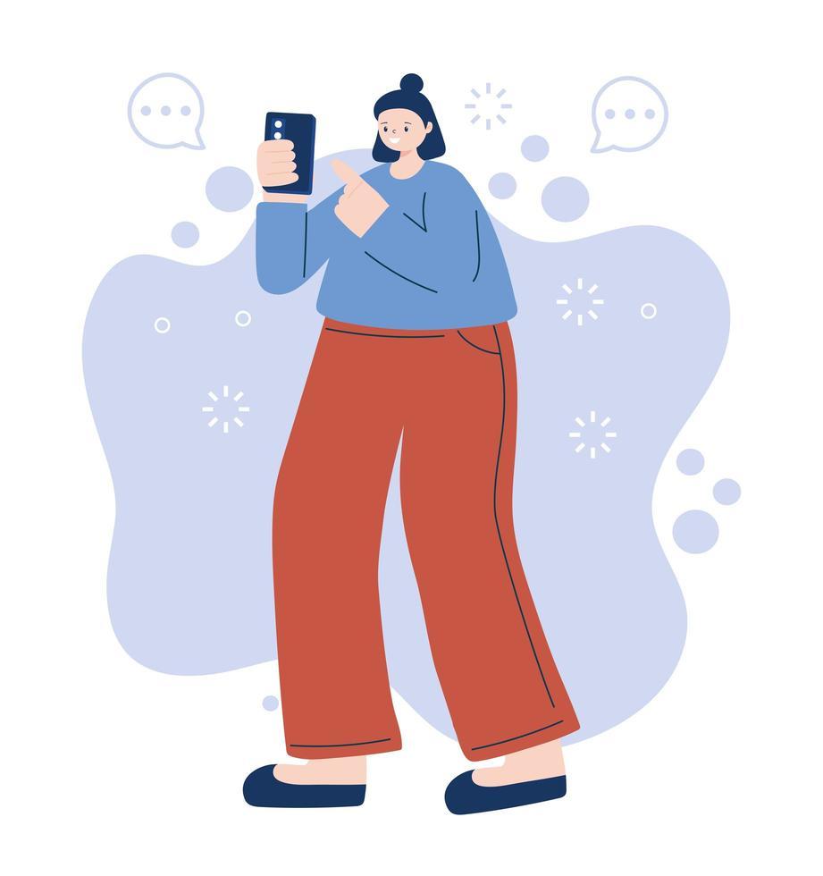kvinna med smartphone vektor design