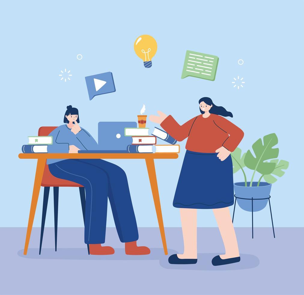 kvinnor med bärbar dator på skrivbordsvektordesign vektor