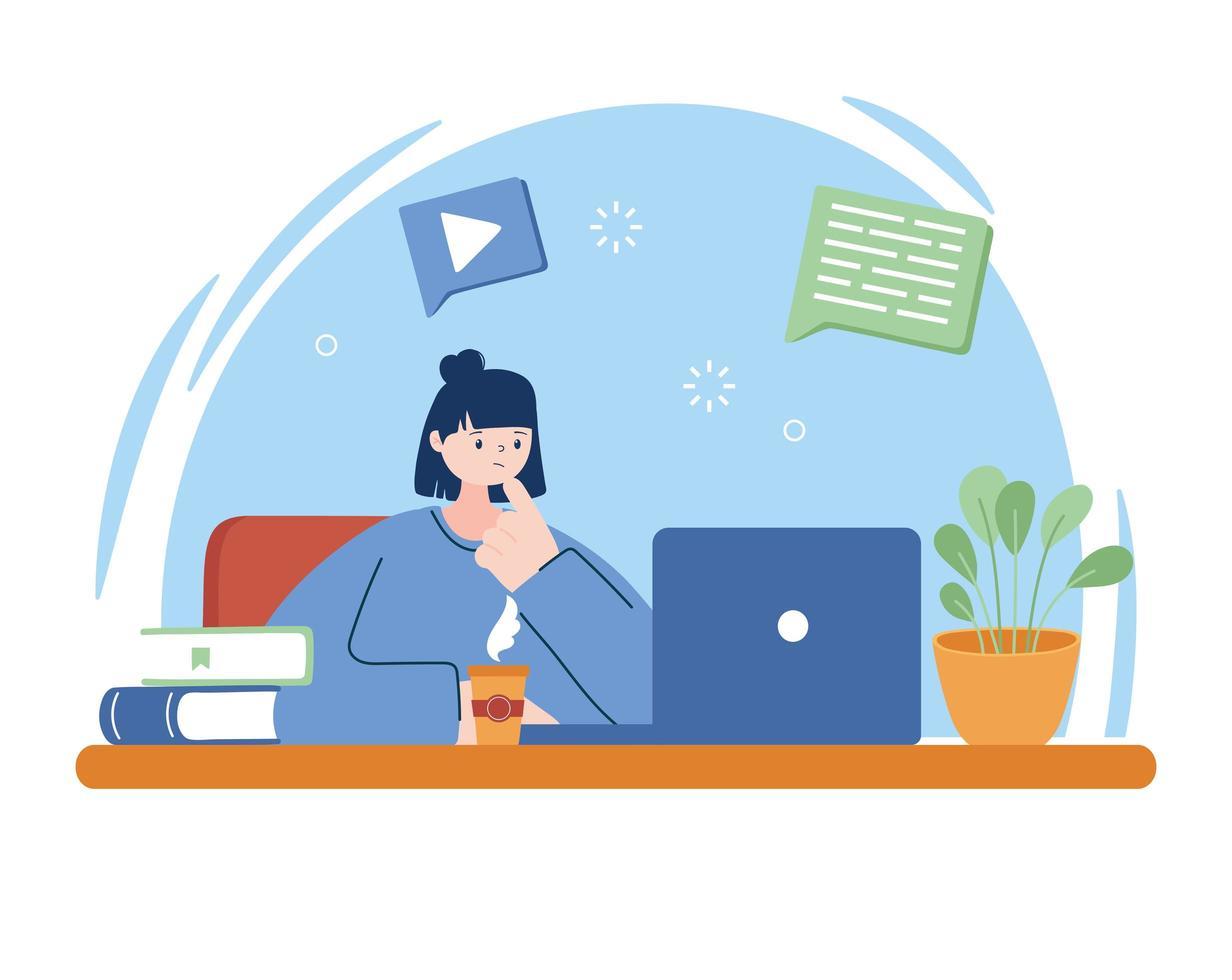 kvinna med bärbar dator och böcker om skrivbordsvektordesign vektor