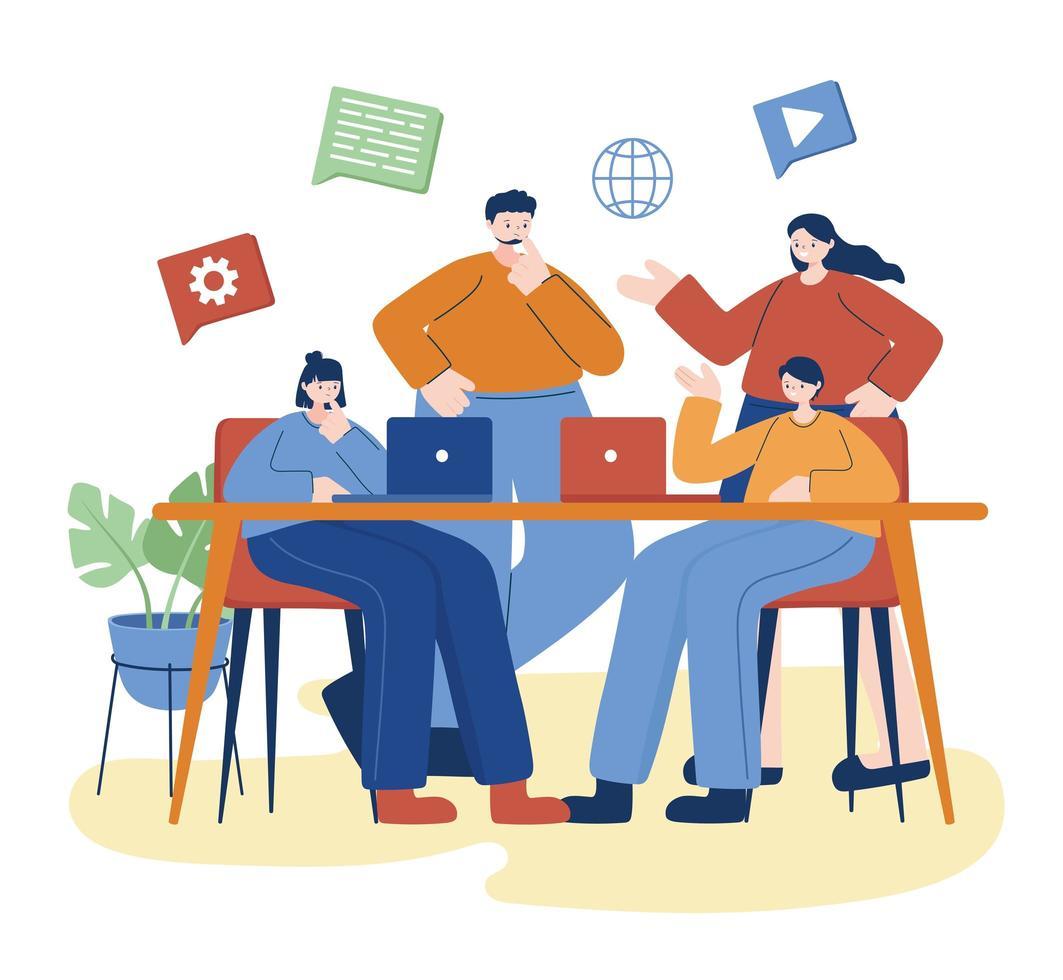 Frauen und Männer mit Laptop auf Schreibtisch Vektor-Design vektor