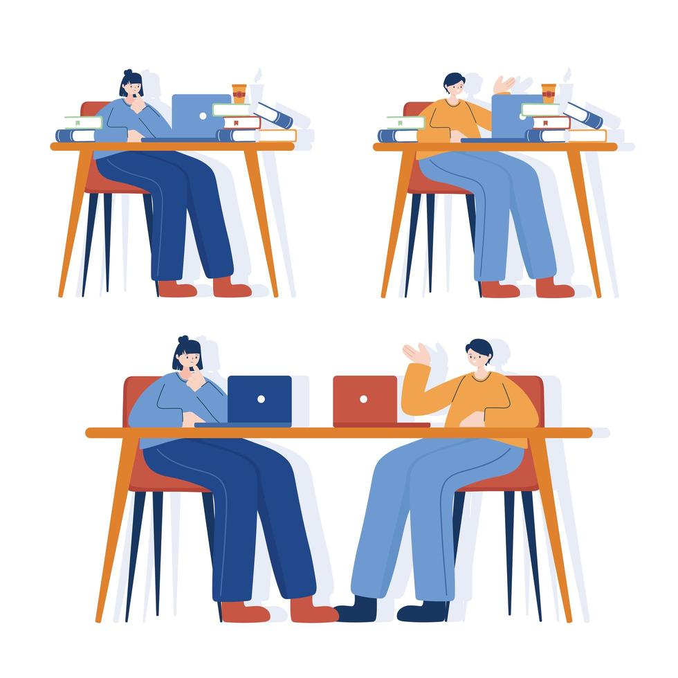 kvinnor och män med bärbar dator på skrivbordsvektordesign vektor