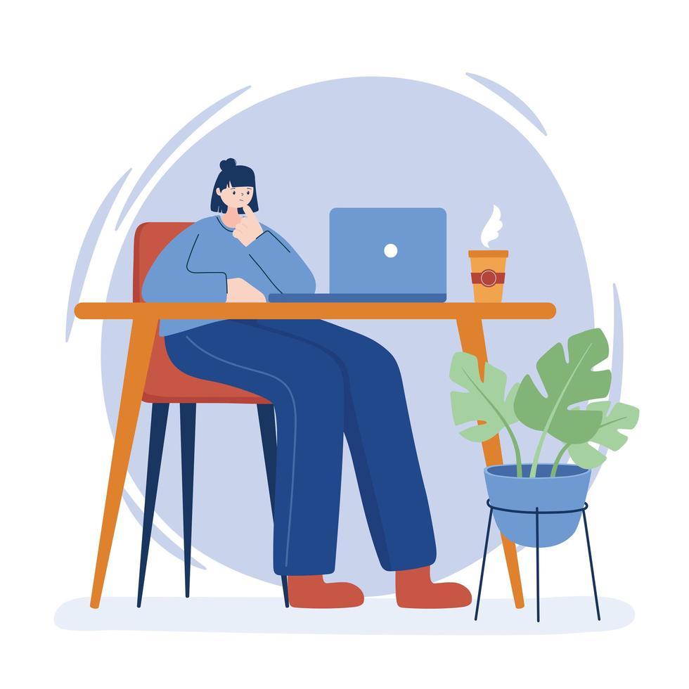 Frau mit Laptop auf Schreibtisch Vektor-Design vektor