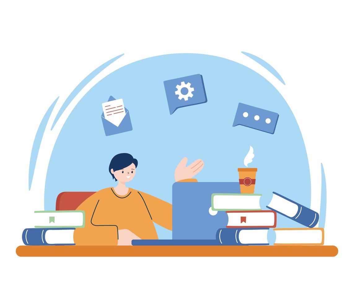 man med bärbar dator och böcker om skrivbordsvektordesign vektor