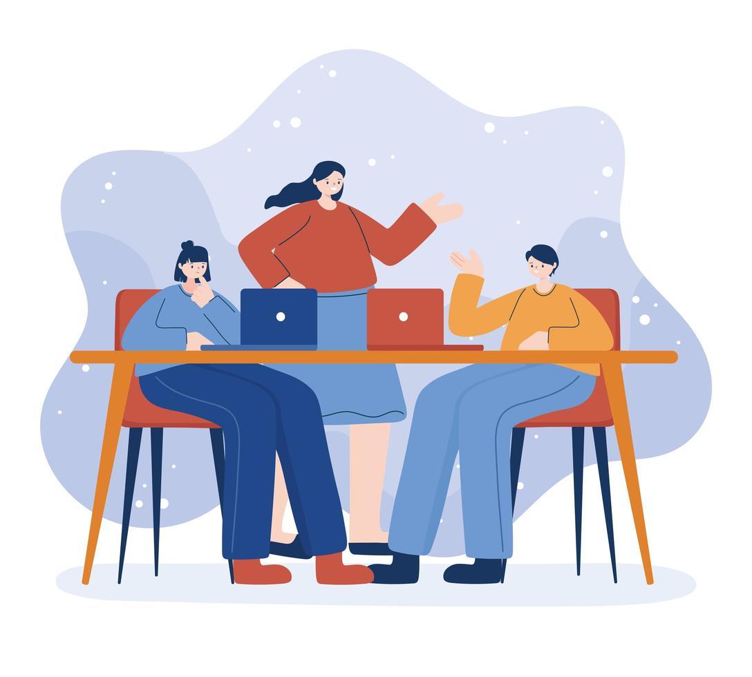 kvinnor och man med bärbar dator på skrivbordsvektordesign vektor